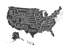 Tappningamerikansk kartaffisch med stater namn