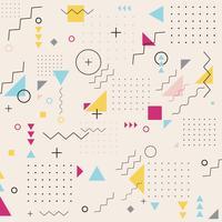 Abstrakt geometrisk trekant kvadrat cirkel vågigt mönster bakgrund. Memphis. Retro mode stil. vektor