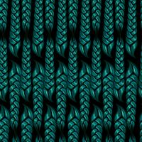 nahtlose Muster von geflochtenen Zöpfen der grünen Farbe. Vektor-illustration