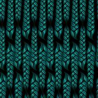 sömlöst mönster av flätade flätor av grön färg. Vektor illustration
