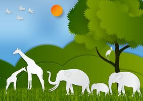 Papierkunstart der Landschaft mit Tier und Baum in der Natur retten den abstrakten Hintergrund der Welt- und Ökologieidee, Vektorillustration