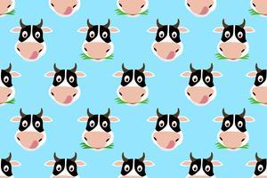 Seamless mönster av tecknad gullig ko på blå bakgrund