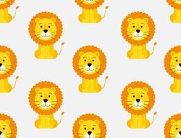 Seamless mönster av gullig tecknad lejon bakgrund vektor