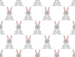 Sömlös mönster av söt tecknad kanin på vit bakgrund - Vektor illustration