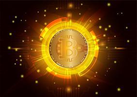 Abstrakter Vektorhintergrund digitaler Währung Bitcoin für Technologie, Geschäft und Online-Marketing vektor