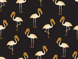 Nahtloses Muster des goldenen Flamingos auf schwarzem Hintergrund - Vector Illustration