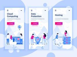 Satz von Onboarding-Bildschirmen User Interface Kit für Cloud Computing, Schutz, Hosting, mobile App-Vorlagen-Konzept. Moderner UX-, UI-Bildschirm für mobile oder reaktionsschnelle Websites. Vektor-illustration