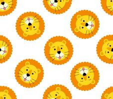 Sömlös mönster av söt lejonhuvud på vit bakgrund vektor