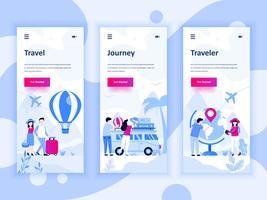 Set med inbyggda skärmar användargränssnitt kit för Travel, Journey, Traveller, mobil app mallar koncept. Modern UX, UI-skärm för mobil eller mottaglig webbplats. Vektor illustration.
