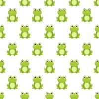 Sömlös mönster söt grön groda tecknad karaktär isolerad på vit bakgrund