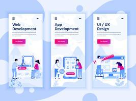 Satz von Onboarding-Bildschirmen User Interface Kit für Web- und App-Entwicklung, UI-Design, mobile App-Vorlagen-Konzept. Moderner UX-, UI-Bildschirm für mobile oder reaktionsschnelle Websites. Vektor-illustration