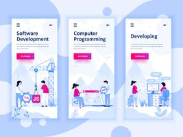 Reihe von Onboarding-Bildschirmen User Interface Kit für Entwicklung, Programmierung, Entwicklung, mobile App-Vorlagen-Konzept. Moderner UX-, UI-Bildschirm für mobile oder reaktionsschnelle Websites. Vektor-illustration
