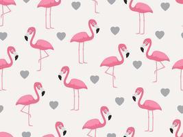 Nahtloses Muster des Flamingos mit Herzen auf Pastellhintergrund - Vector Illustration