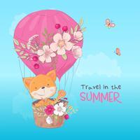 Vykortaffisch av en söt räv i en ballong med blommor i tecknad stil. Handritning.