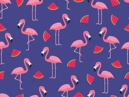 Seamless mönster av flamingo med skiva vattenmelon på blå bakgrund - Vektor illustration