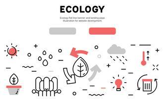 Flache Linie Fahne und Landungsseite des umweltfreundlichen Konzeptes. Illustration für die Website-Entwicklung