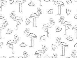 Seamless mönster av flamingo med skiva vattenmelon doodle stil på vit bakgrund - Vektor illustration