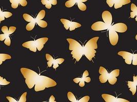 Vektor illustration sömlösa guld fjärilar mönster bakgrund