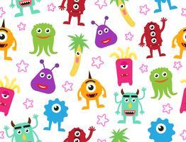 Sömlös mönster av söta tecknade monster bakgrund - Vektor illustration