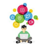 Pojke sitter med laptop surfar på internet sociala medier vektor