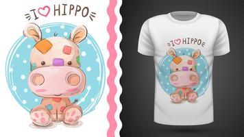 Hippo, flodhäst - idé för tryckt-skjorta