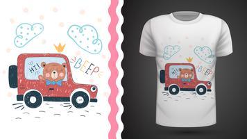 Björn och bil - idé för tryckt t-shirt.