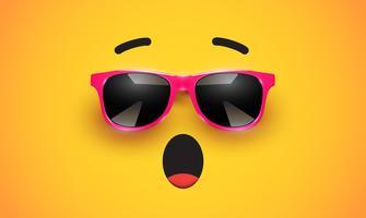 Hoher detiled bunter Emoticon mit Sonnenbrille, Vektorillustration