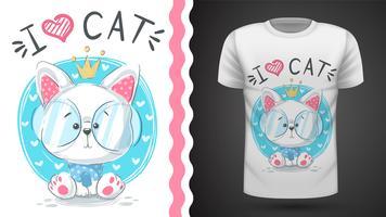 Söt prinsesskatt - Idé för tryckt-skjorta vektor