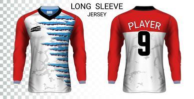 Långärmad fotbollströja t-shirts mockupmall, Grafisk design för fotboll uniformer. vektor
