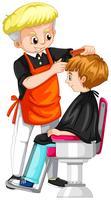 Liten pojke får frisyr på frisör
