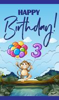 Alles Gute zum Geburtstagskarte für drei Jahre alt vektor