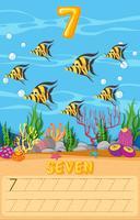 Arbeitsblatt mit sieben Unterwasserfischen