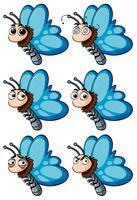 Schmetterling mit verschiedenen Gesichtsgefühlen vektor