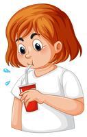 Tjej med diabetes törstig