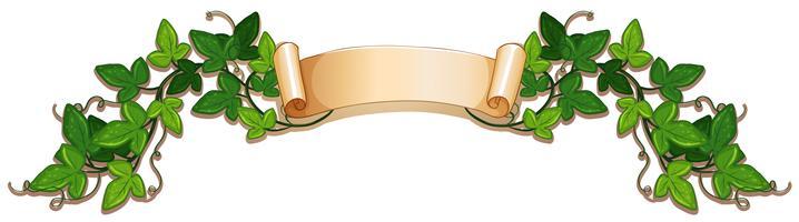 Banderolldesign med grön murgröna vektor