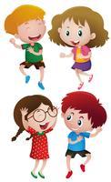 Barn har roligt dansande vektor