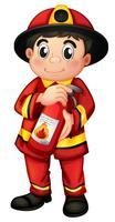 Ein Feuerwehrmann, der einen Feuerlöscher hält vektor