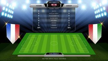 Scoreboard och fotbollsplan upplyst av strålkastare, global statistik sändning grafisk fotbollsmall med flaggan.
