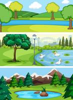Set av vatten landskap vektor