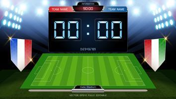 Anzeigetafel und Fußballplatz, die durch Scheinwerfer beleuchtet werden, globale Statistiken übertragen grafische Fußballschablone mit der Flagge.
