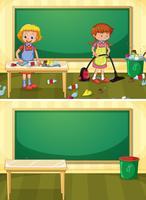 Vaktmästare rengöring smutsigt klassrum vektor