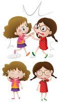 Två tjejer kämpar och gråter vektor