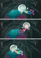 Barn dykning under havet vektor