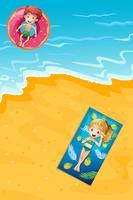 En ung pojke och tjej på sommarlov vektor