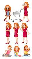 Kvinna gör olika aktiviteter vektor