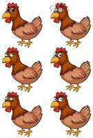 Braunes Huhn mit verschiedenen Emotionen vektor