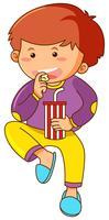 Kleiner Junge, der Imbiß isst und Soda trinkt