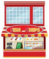 En fisk och chipsaffär vektor