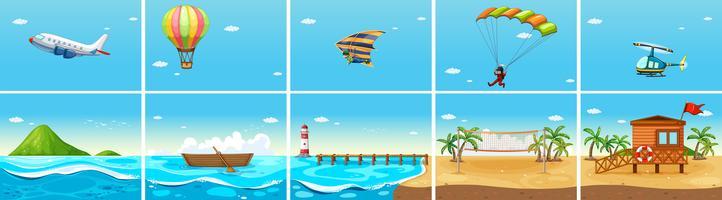 Natur scen med hav och strand vektor