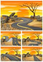 Savanna fält vid solnedgången med tomma vägar